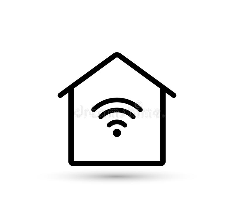 Ic?ne ? la maison de WiFi Maison intelligente illustration stock