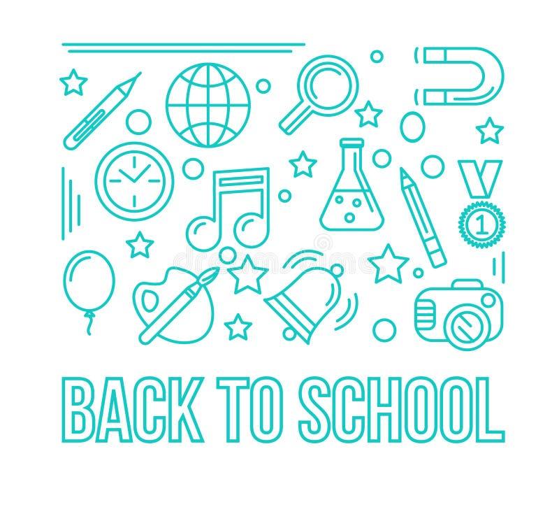 Icône linéaire d'école Illustration de conception d'éducation De nouveau au schoo illustration de vecteur