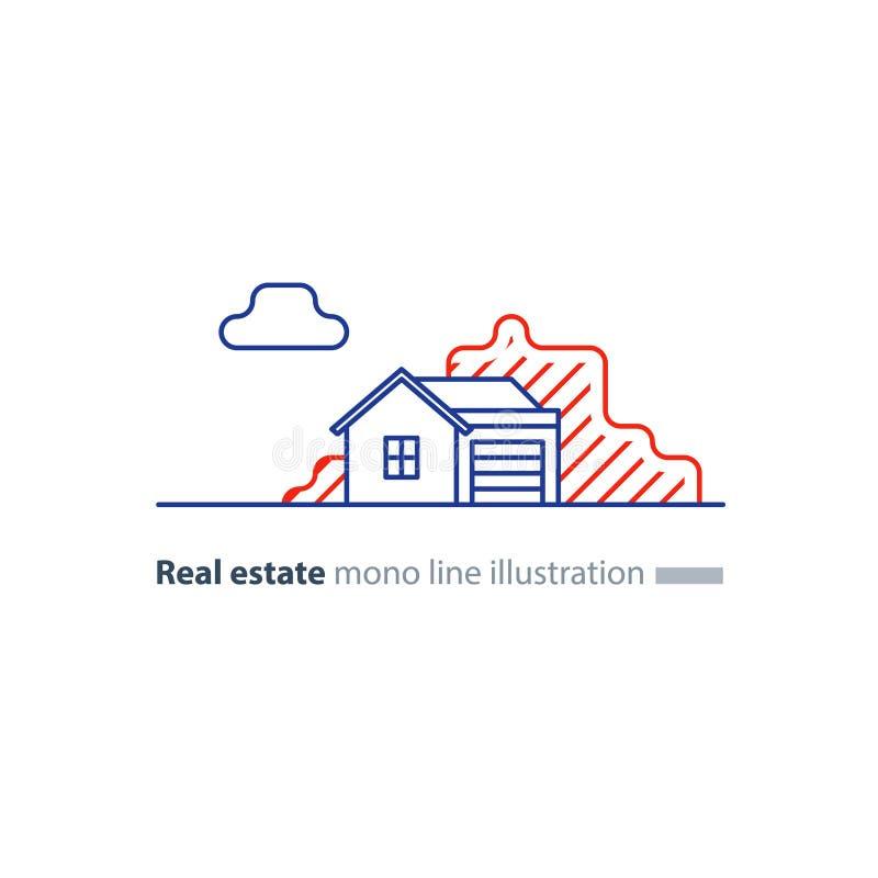 Icône linéaire d'immobiliers, basse propriété de maison, concept de voisinage illustration stock