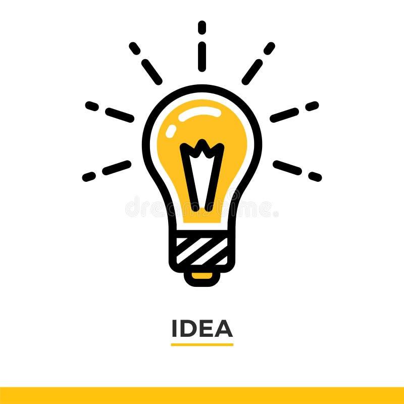 Icône linéaire de lampe Pictogramme dans le style d'ensemble sur le blanc Dirigez l'élément plat moderne de conception pour l'app image libre de droits