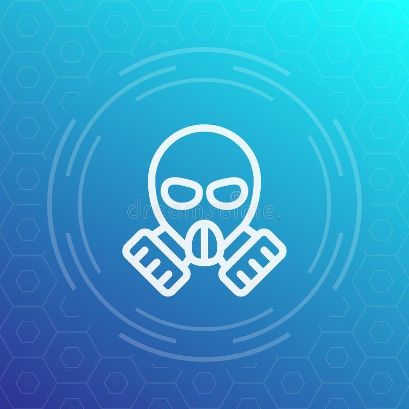 Icône linéaire de masque de gaz illustration de vecteur