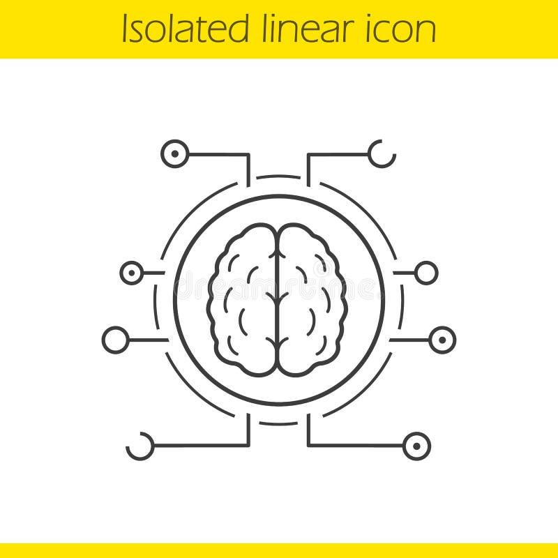 Icône linéaire de réseaux neurologiques illustration libre de droits