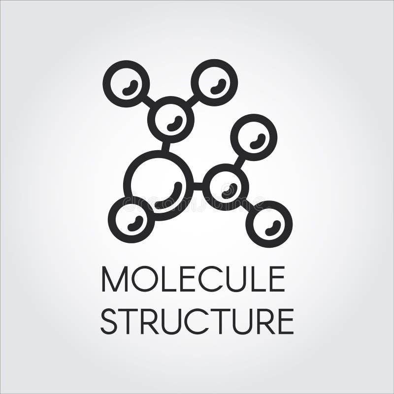 Icône linéaire de structure de molécule Label de projets scientifiques, éducatifs et autres de composé chimique pour illustration stock