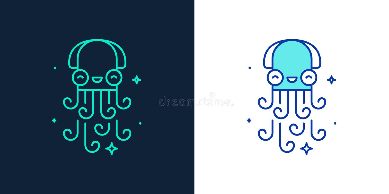 Icône linéaire de style d'un vecteur de poulpe illustration stock