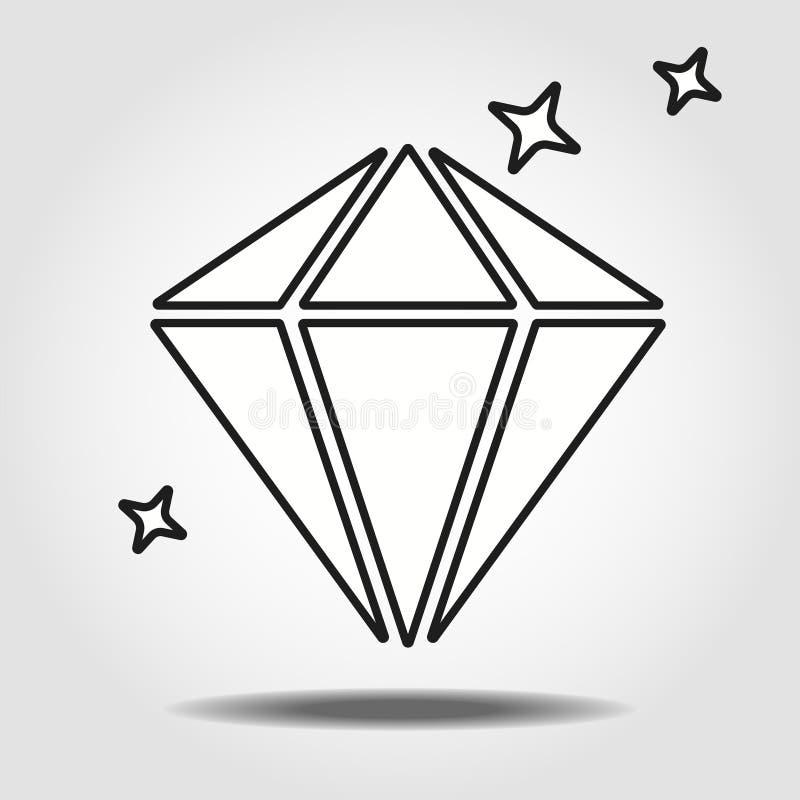 Ic?ne lin?aire de diamant Illustration au trait mince Symbole brillant brillant de d?coupe de gemme Dessin d'isolement par vecteu illustration de vecteur