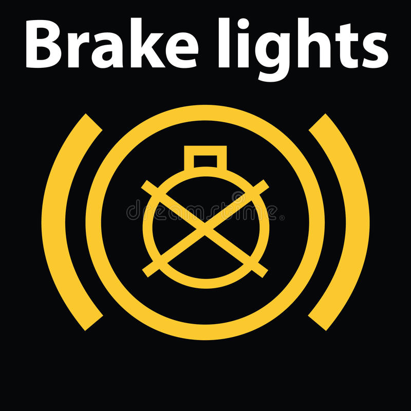 Icône lumineuse simple de tableau de bord de voiture d'échec du feu de freinage Icône d'avertissement de tableau de bord, code de illustration stock