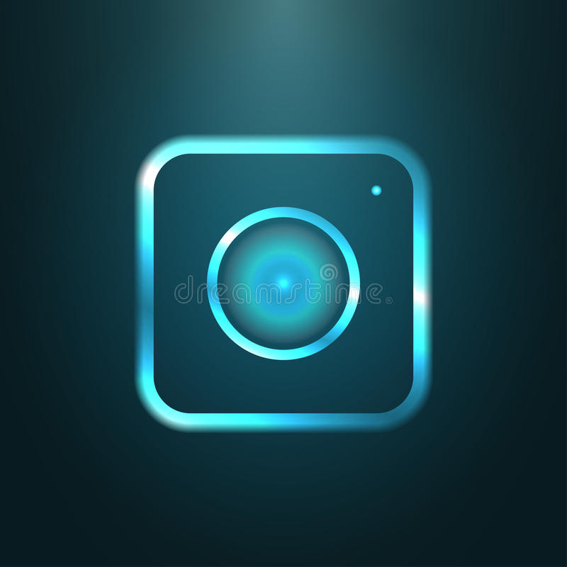 Icône métallique bleue de Web d'appareil-photo moderne illustration de vecteur