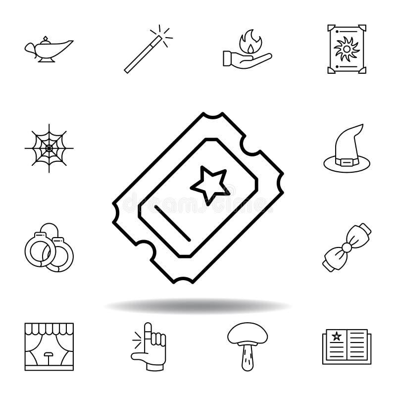 Ic?ne magique d'ensemble de billet éléments de ligne magique icône d'illustration des signes, symboles peuvent être employés pour illustration stock