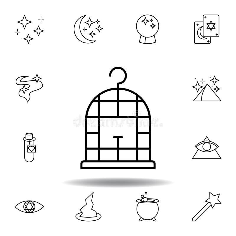 Ic?ne magique d'ensemble de cage ? oiseaux éléments de ligne magique icône d'illustration des signes, symboles peuvent être emplo illustration libre de droits