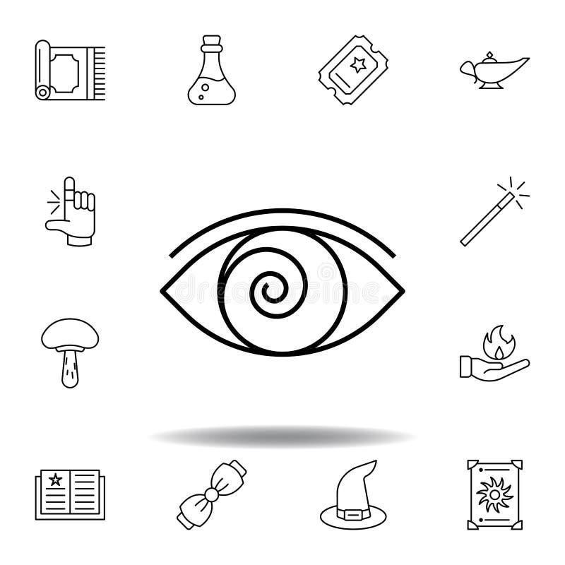 Ic?ne magique d'ensemble d'hypnose éléments de ligne magique icône d'illustration des signes, symboles peuvent être employés pour illustration libre de droits