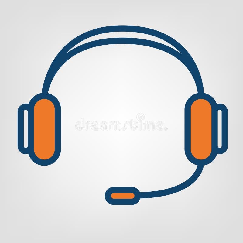 Icône mains libres d'écouteurs, signe de soutien de centre d'appels illustration libre de droits