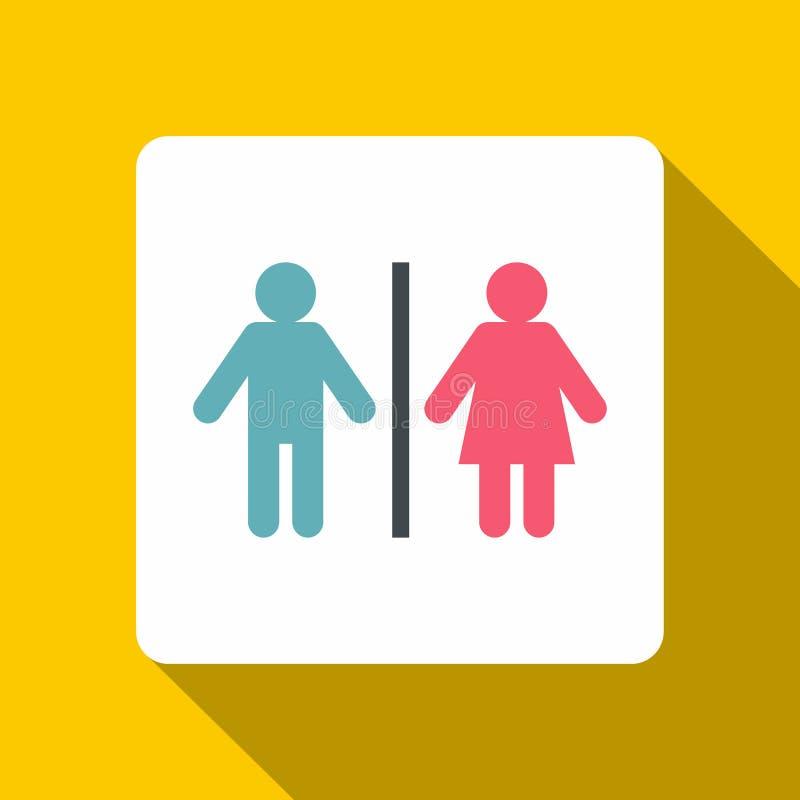Icône masculine et femelle de signe de toilette, style plat illustration libre de droits