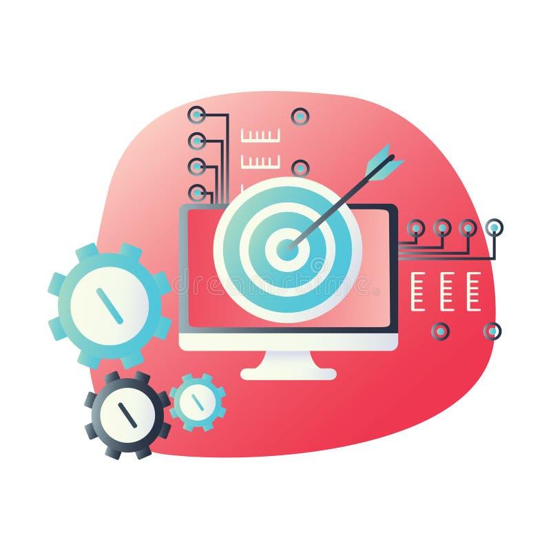 Icône matérielle de conception pour examiner, former ou lancer sur le marché et faire de la publicité le concept Symbole de web d illustration stock