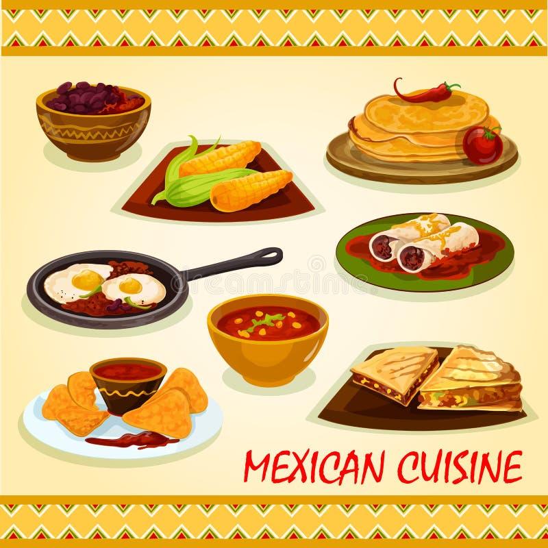 Icône mexicaine de plats épicés de cuisine illustration stock