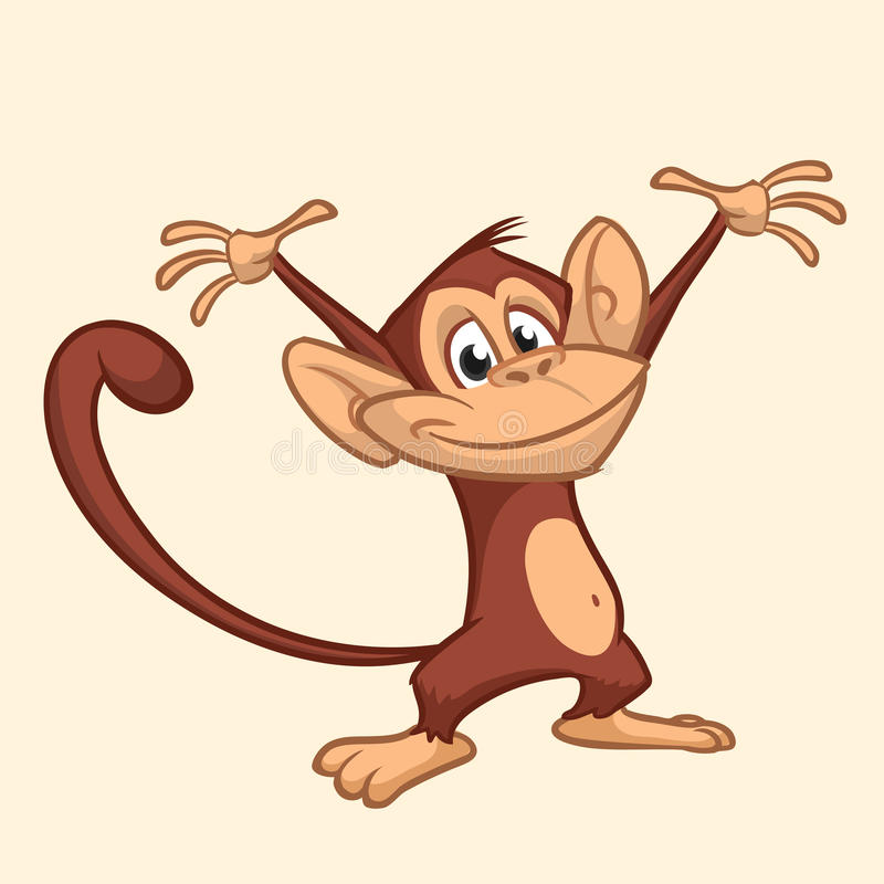 Icône mignonne de bande dessinée de singe Illustration de vecteur de singe de dessin décrite illustration de vecteur