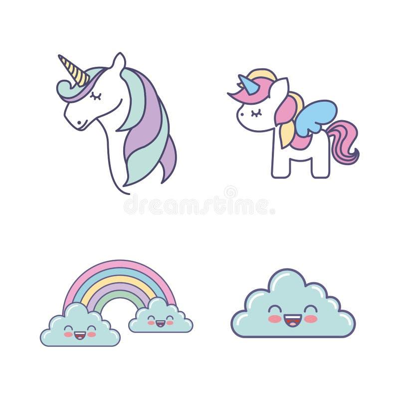 icône mignonne de dessin de licornes d'ensemble illustration libre de droits