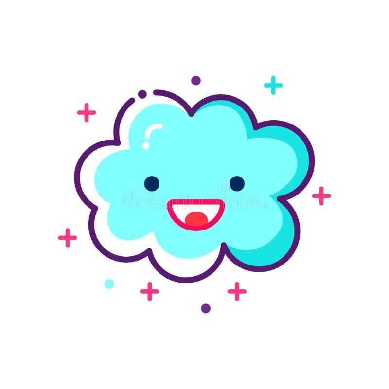 Icône mignonne de nuage de vecteur Icône drôle et souriante de nuage illustration stock