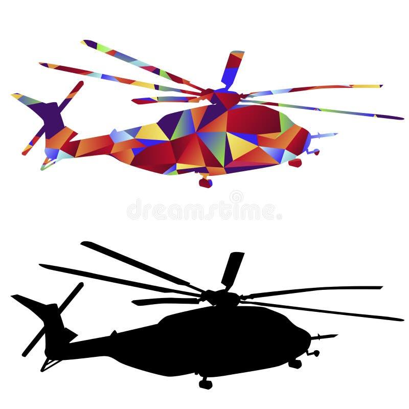 Icône militaire d'hélicoptère de polygone illustration stock