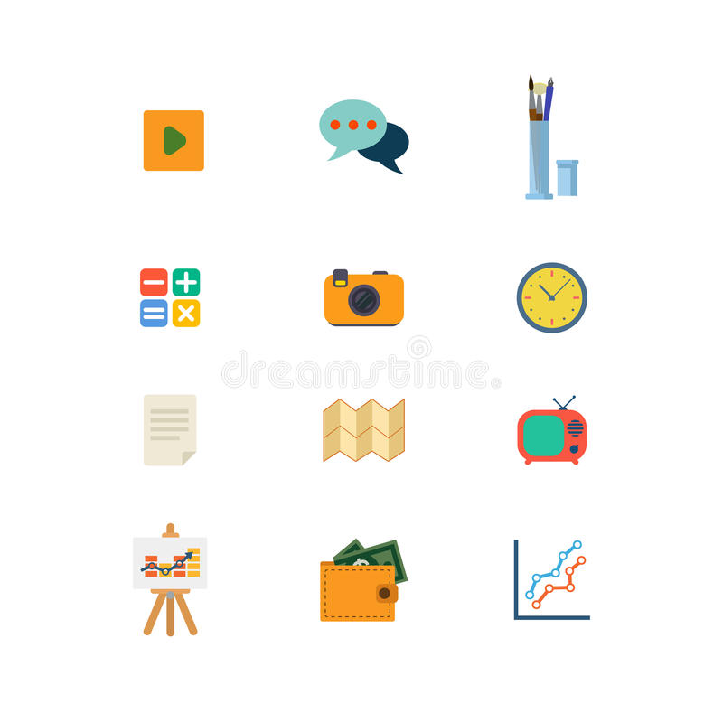 Icône mobile du site Web APP de Web de vecteur de jeu de temps visuel plat de la causerie TV illustration libre de droits