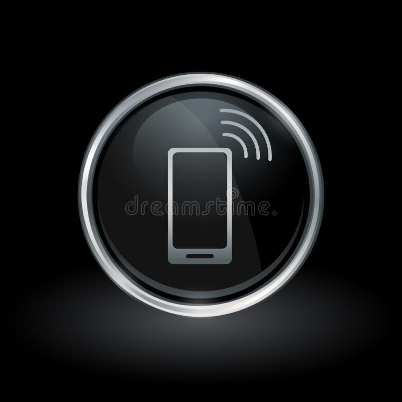 Icône mobile sans fil de smartphone à l'intérieur d'argent rond et de fin de support noire illustration stock