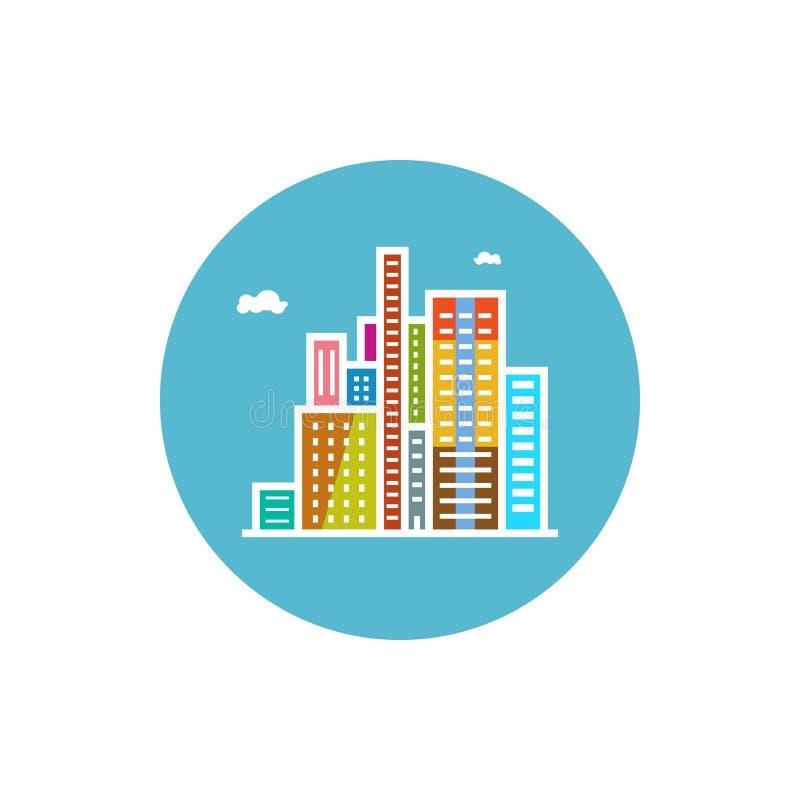 Icône moderne de bâtiments, icône de ville illustration libre de droits