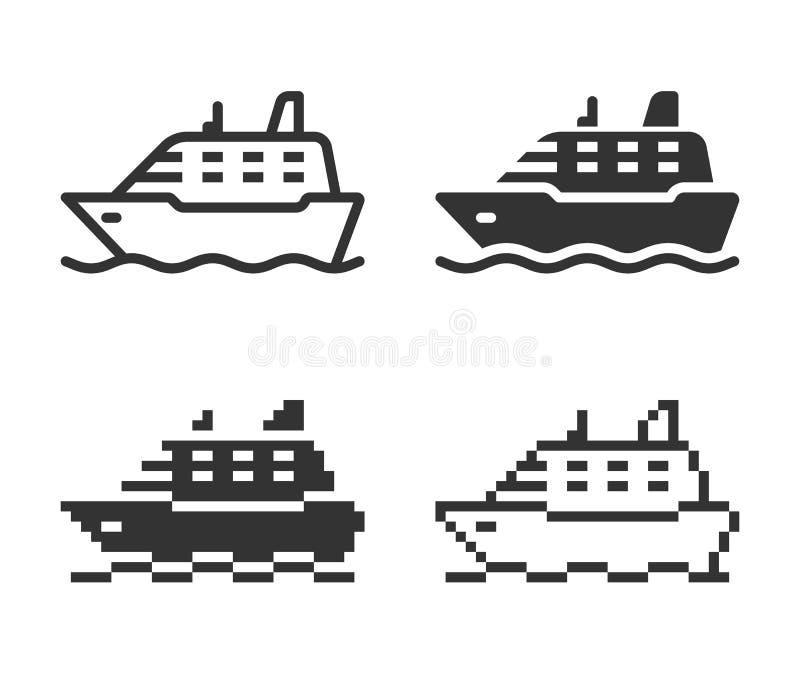 Ic?ne monochromatique de bateau dans diff?rentes variantes illustration de vecteur