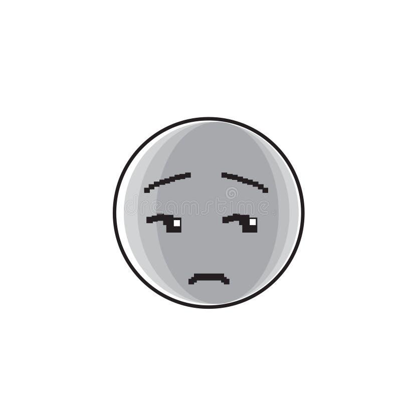 Icône négative d'émotion de personnes de visage triste de bande dessinée illustration libre de droits