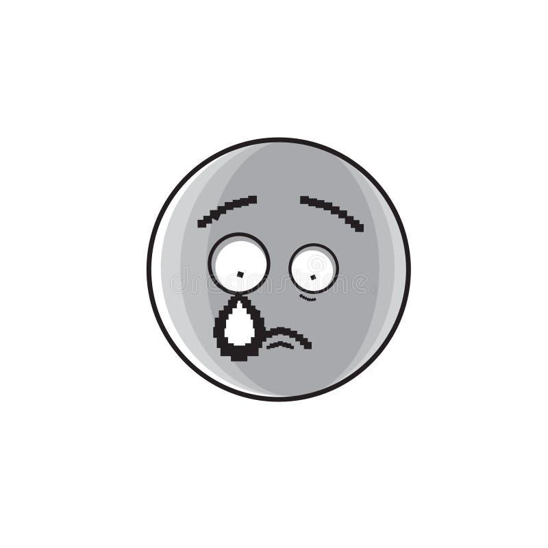 Icône négative pleurante d'émotion de personnes de visage triste de bande dessinée illustration libre de droits