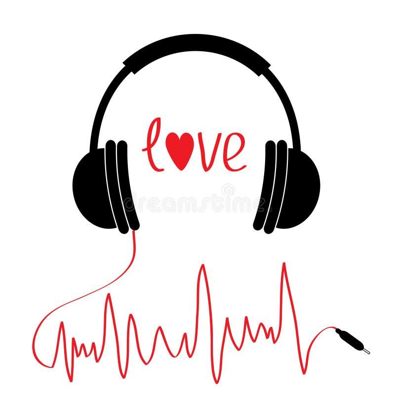 Icône noire d'écouteurs avec la corde rouge dans la forme du cardiogramme Carte d'amour Coeur des textes Conception plate Fond bl illustration libre de droits