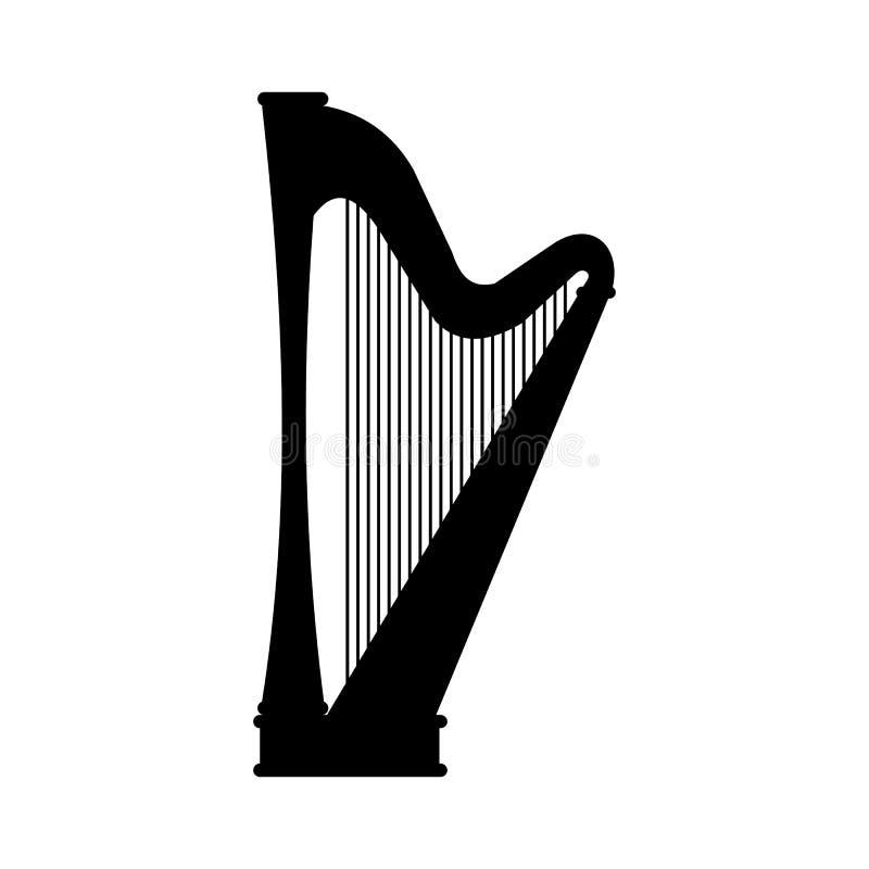 Icône noire d'harpe illustration stock