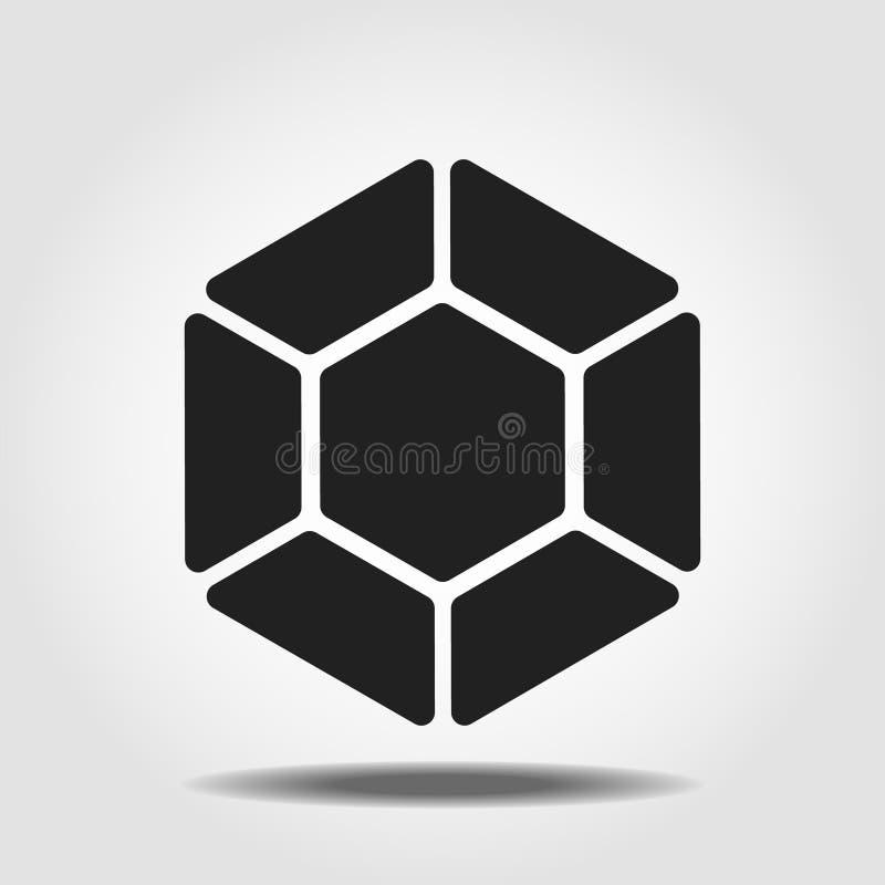 Ic?ne noire de diamant Symbole brillant brillant de d?coupe de gemme Dessin noir d'isolement par vecteur illustration libre de droits