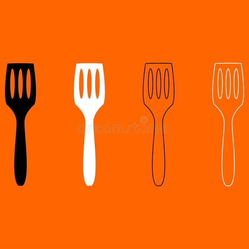 Icône noire et blanche d'ensemble de spatule de cuisine illustration stock
