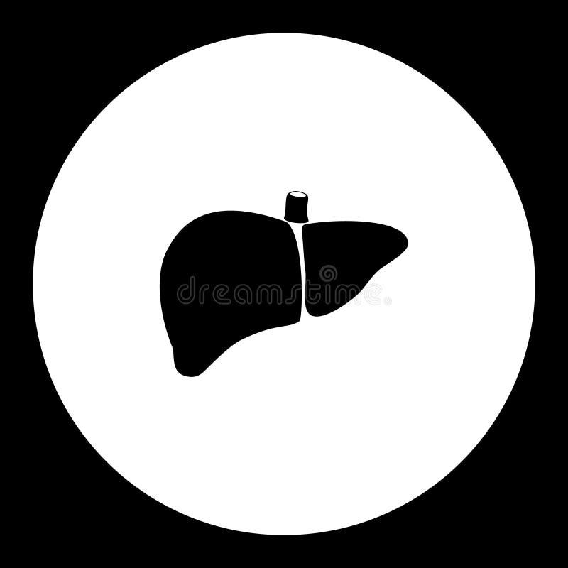Icône noire simple médicale eps10 d'organe interne de foie illustration de vecteur