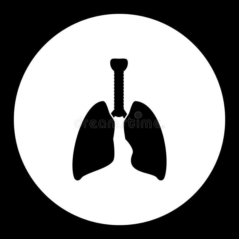 Icône noire simple médicale eps10 d'organe interne de poumon illustration stock