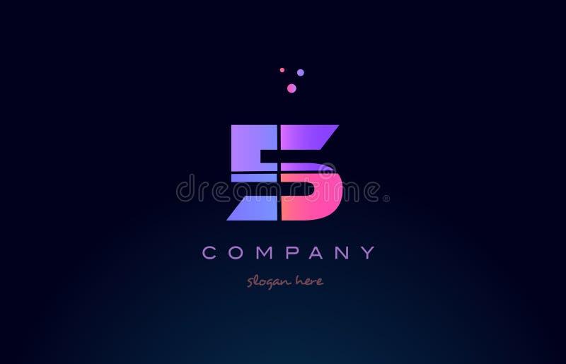 icône numérale de logo de chiffre pourpre magenta rose du nombre 5 cinq illustration libre de droits