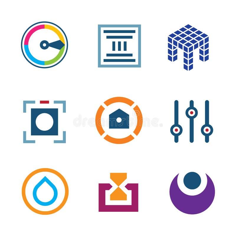 Icône numérique de logo de promoteur de la science d'optimisation de pointe d'arrangements illustration libre de droits