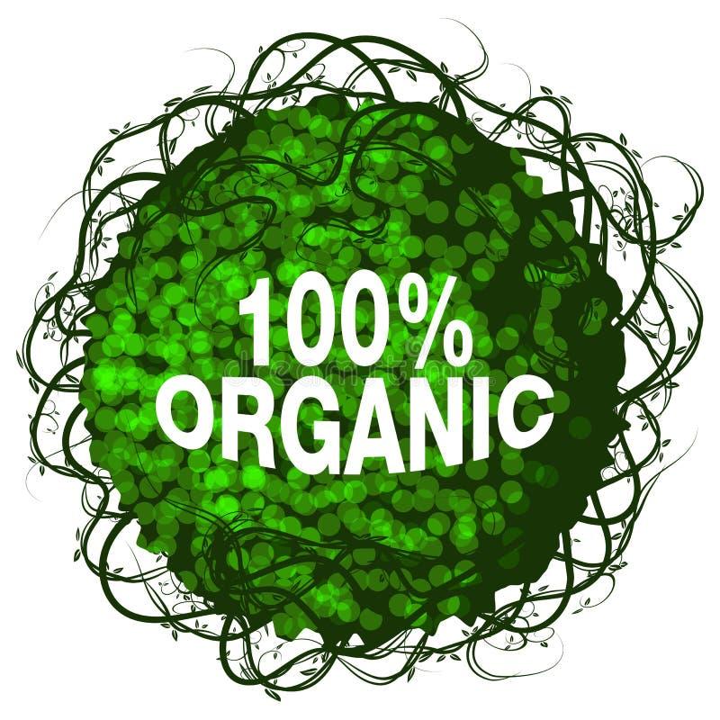 Icône organique d'arbuste de cent pour cent illustration de vecteur