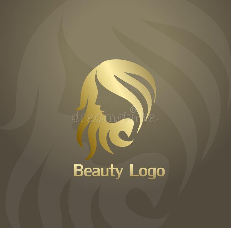 Icône ou logo de mode de beauté avec le visage et les cheveux de femme illustration libre de droits