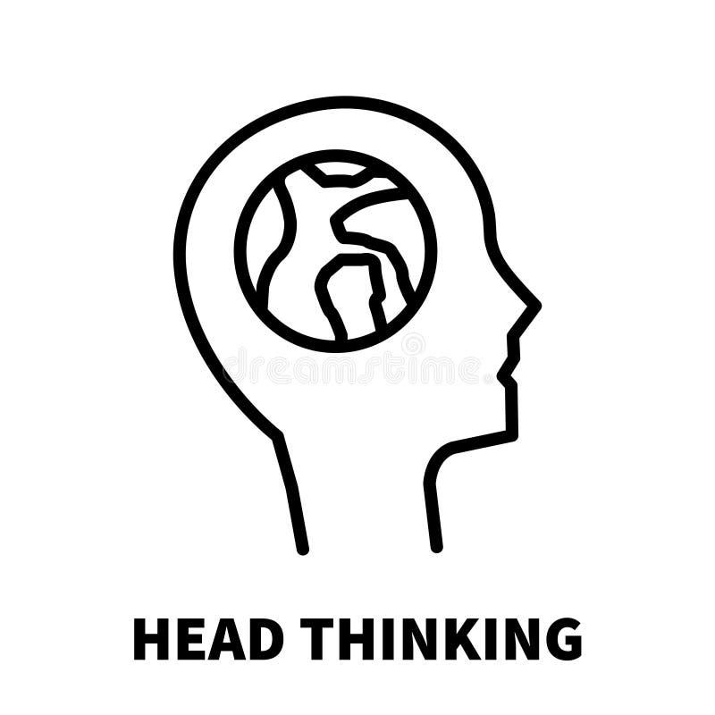 Icône ou logo de pensée principale dans la ligne style moderne illustration libre de droits