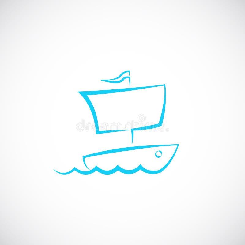 Icône ou logo tirée par la main de symbole de vecteur de bateau à voile illustration de vecteur