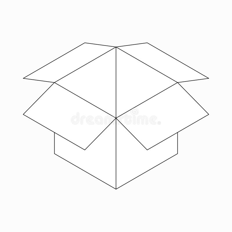 Icône ouverte de boîte en carton, style 3d isométrique illustration libre de droits