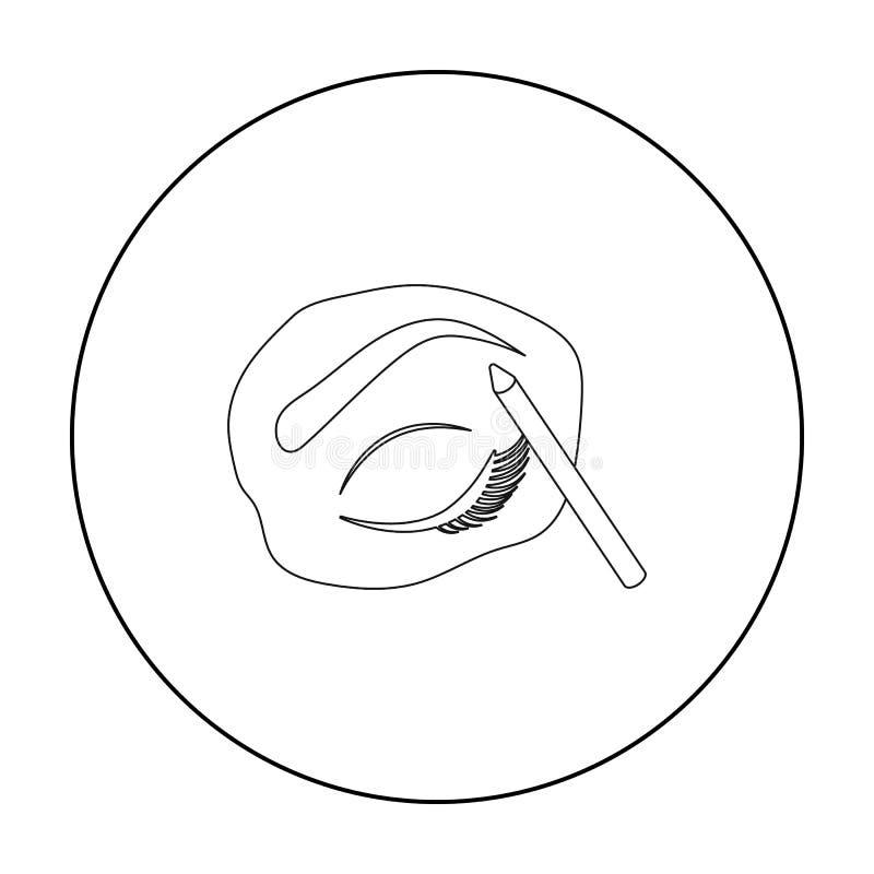 Icône peinte de sourcils dans le style d'ensemble d'isolement sur le fond blanc Composez l'illustration courante de vecteur de sy illustration stock