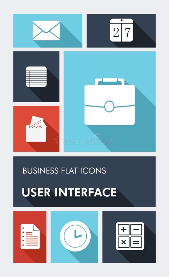 Icône plate colorée d'interface utilisateurs d'apps des affaires UI illustration de vecteur