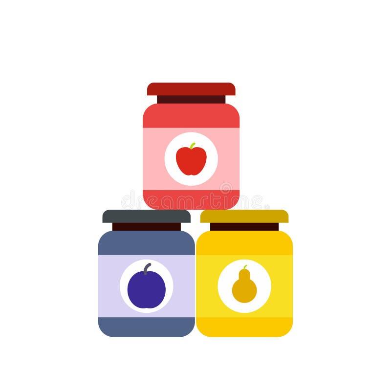 Icône plate d'aliment pour bébé illustration stock
