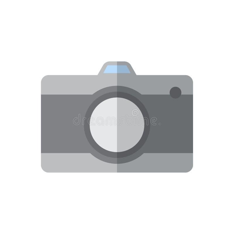 Icône plate d'appareil-photo, signe rempli de vecteur, pictogramme coloré d'isolement sur le blanc illustration stock