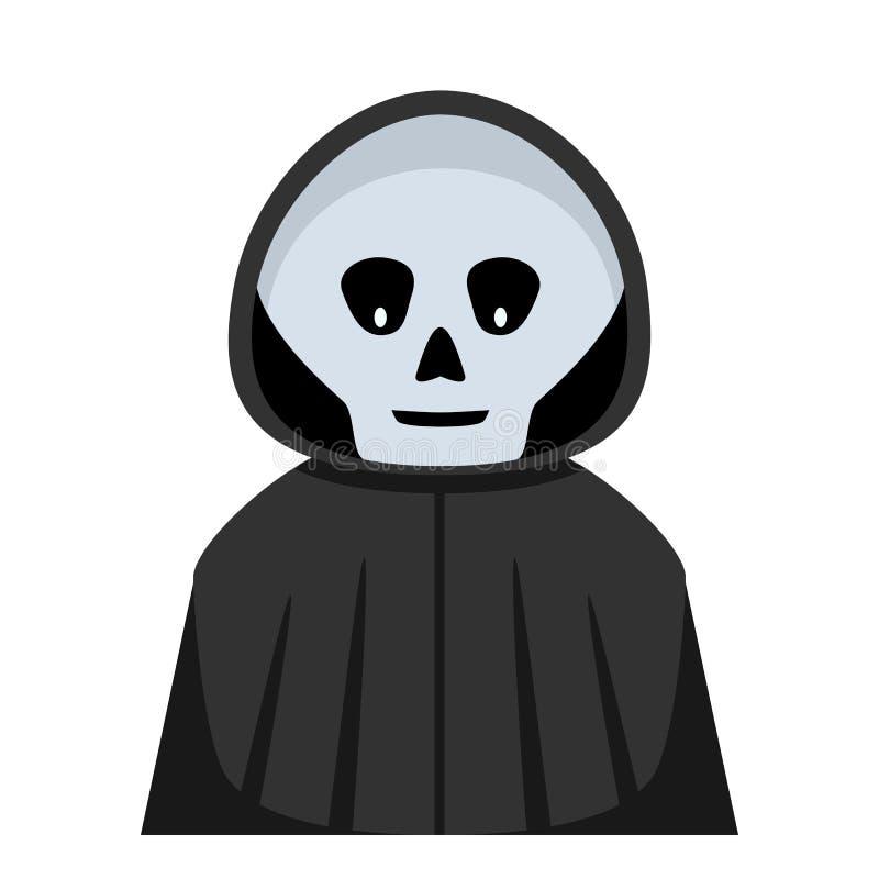 Icône plate d'avatar de faucheuse de Halloween illustration stock