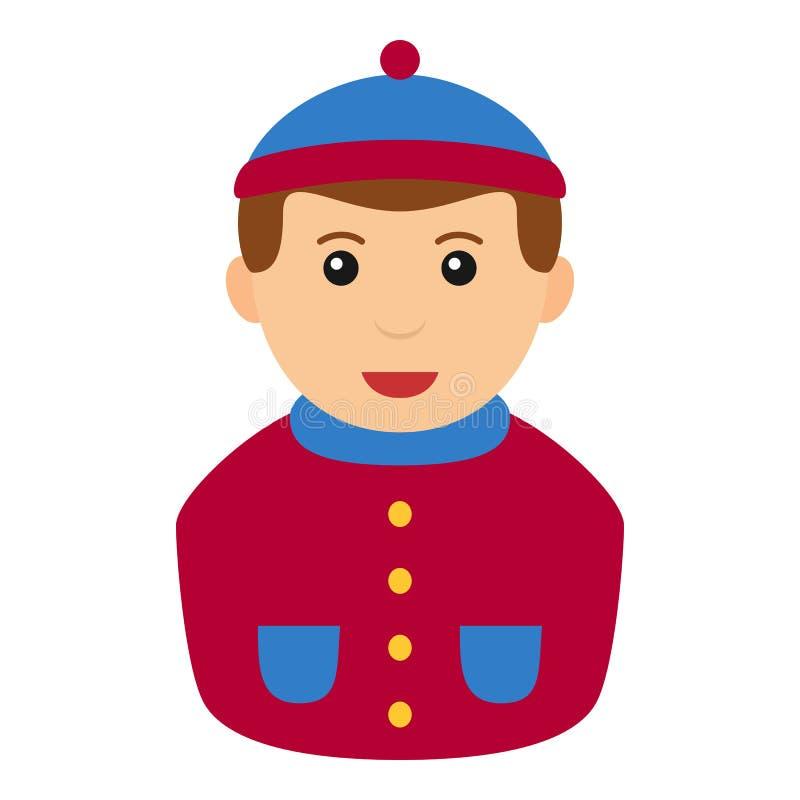 Icône plate d'avatar de garçon d'hiver d'isolement sur le blanc illustration de vecteur