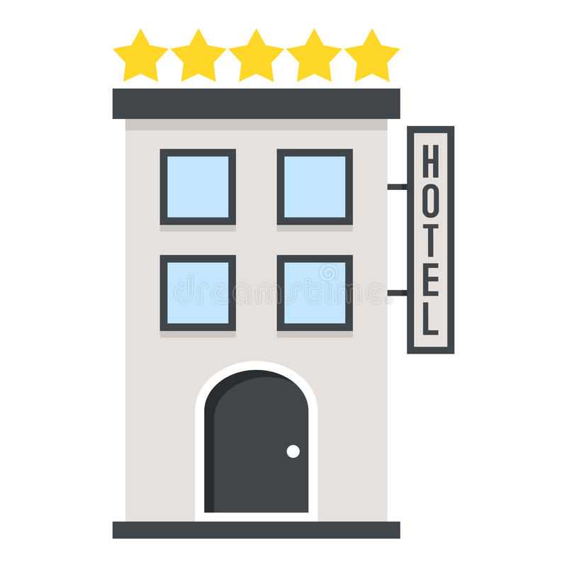 Icône plate d'hôtel de cinq étoiles d'isolement sur le blanc illustration libre de droits