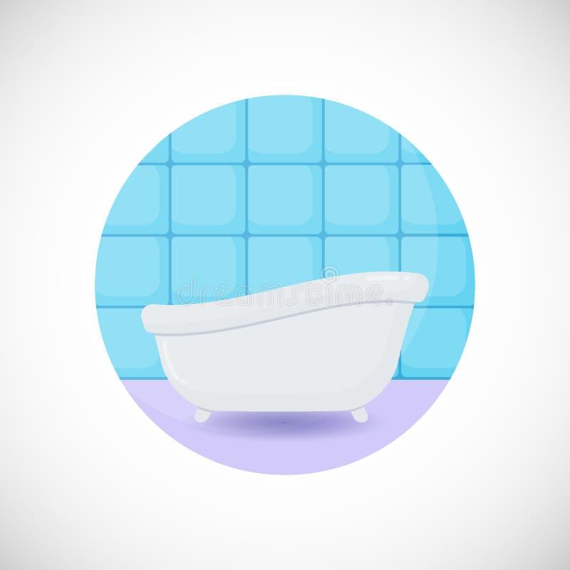 Icône plate de baignoire illustration libre de droits