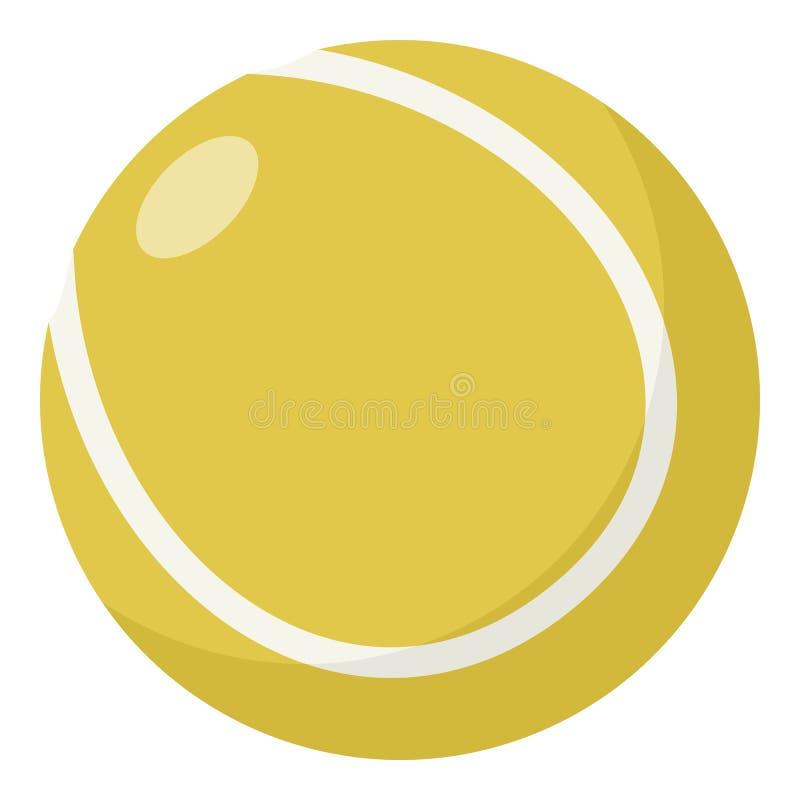 Icône plate de balle de tennis jaune d'isolement sur le blanc illustration libre de droits